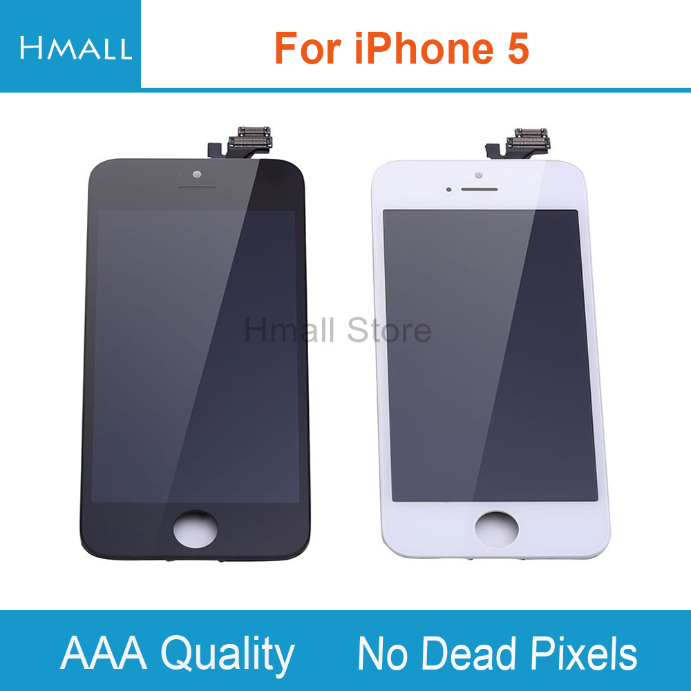 imágenes para Grado AAA para el iphone 5 Pantalla LCD para iPhone5 5G con Pantalla Táctil Digitalizador Asamblea Blanco/Negro sin Pixeles Muertos