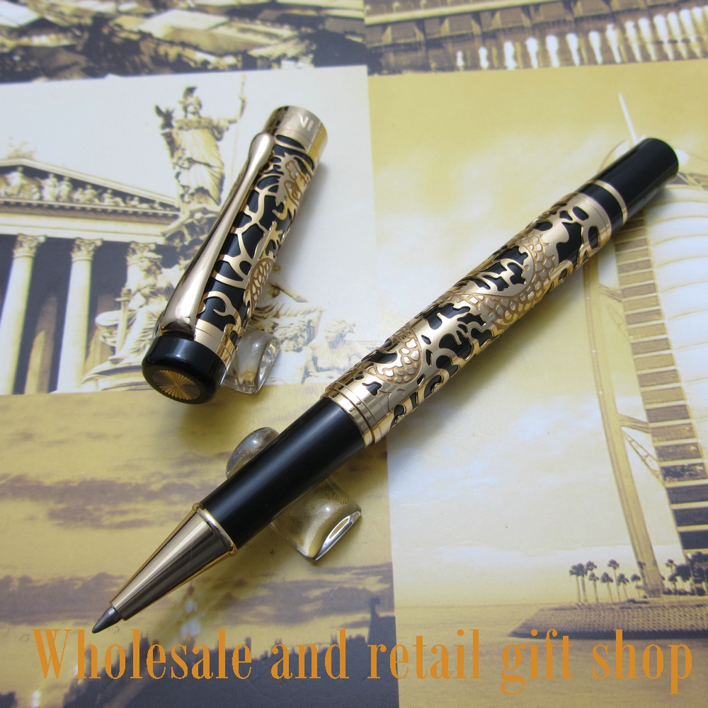 Jinhao E500 Embossed golden dragon Pen High Quality rollerball pen metal gift pen e31 rechargeable hearing aid auidphones microphone amplifier to profound deaf hearing aids left right ear dropshippin
