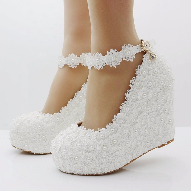 White Lace Wedges Shoes Pumps High Heels Platform Women And Pearls