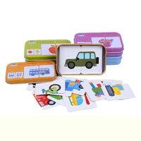 32ピース/箱赤ちゃんのおもちゃ幼児の早期ヘッドスタートトレーニングパズル認知カード車両/フルーツ/動物/生活セットペアパズルベビーギフト