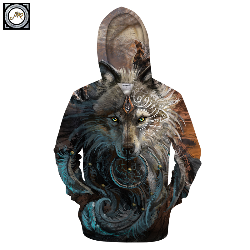 Wolf Warrior by SunimaArt Hoodies Unisex Zipper Hooded Sweatshits Drop Ship Animal Hoodie Brand Tracksuits 2018 Pullover Male Co