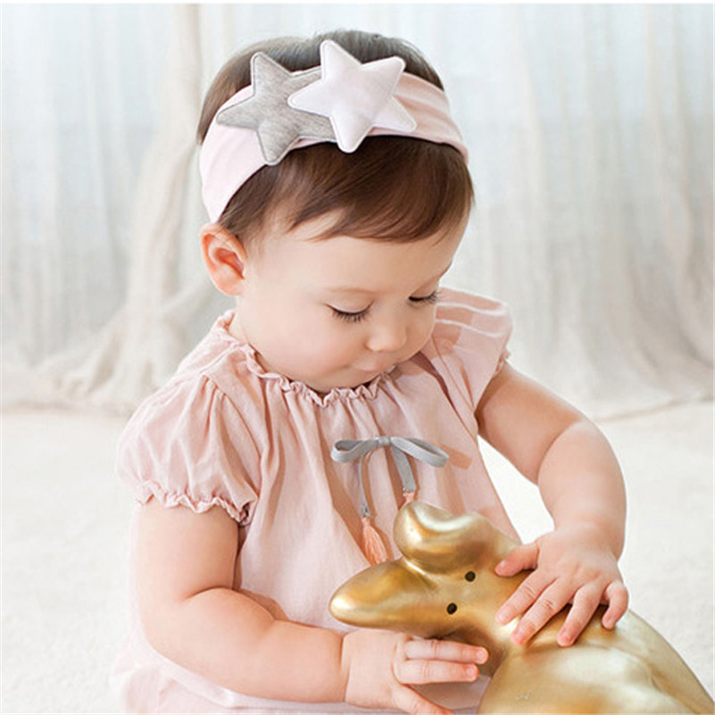 BalleenShiny Baby Girls Cute Star Headbands Bandana Scarf Hair Band Infant Toddlers Headwrap Bebe Knot Headwear Hair Accessories