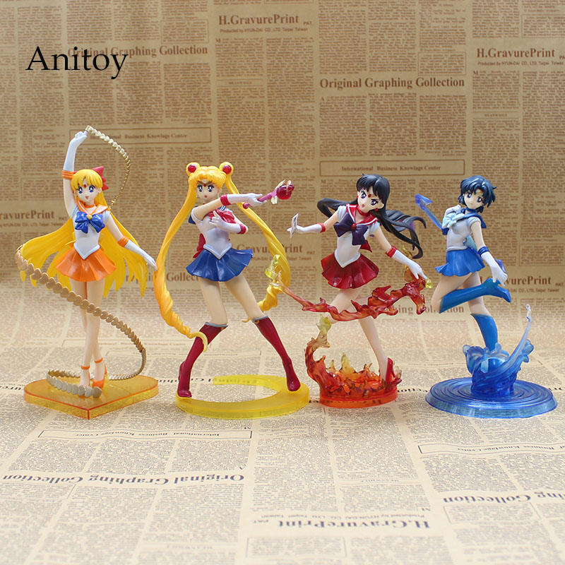 Anime Figuarts Zero Sailor Moon 20th Anniversary Sailor Moon Mars Venus Mercury PVC Action Figure Collectible Model Toy sailor moon capsule communication instrument machine accessory gashapon figure anime toy full set 100