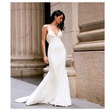 LORIE 2019 Mermaid Wedding Dresses Soft Satin Appliques Lace Beach Bride Dress Sexy Back Gown Hot Sale