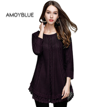 Amoyblue A Line Knitting Dress 2017 Autumn Women's Fashion Loose Knitted Pullovers Female Ladies Casual Sweaters Shirts Purple