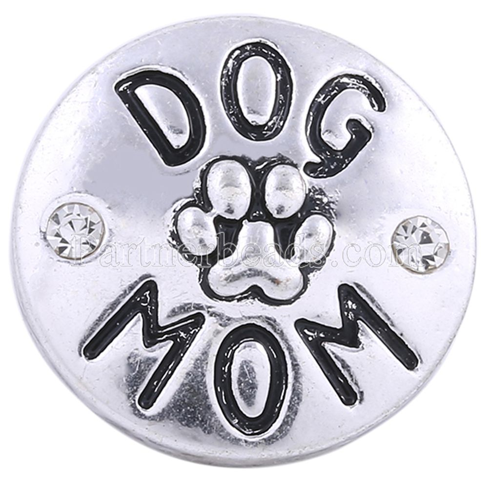 Newest <font><b>dog</b></font> feet mom snaps jewelry charm rhinestone metal Snap Beads fit 18mm <font><b>bracelet</b></font> bangles snap jewelry KC8655 image