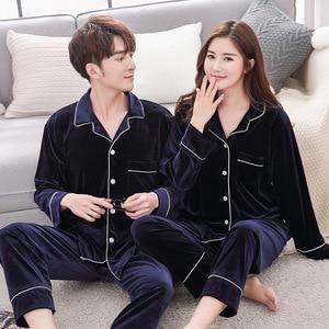 Image 2 - BZEL Warm Couple Pajamas Set Turn down Collar Long Sleeve Sleepwear Soft Leisure Pajama For Female Lovers Clothes Pijama Femme