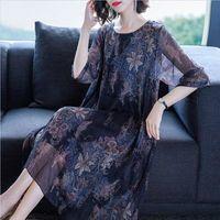 Maxi Dress Plus Size Chiffon Dress Flower Print Women Dress O neck Blue Summer Dress Half Sleeve Elegant Clothes 2019 Vestidos