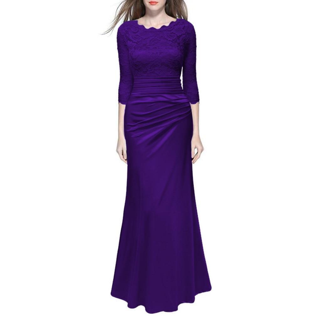Nouveau Automne Robe Vintage Femmes Sexy Élégante Robe de Soirée Longue À Manches Longues En Dentelle Maxi Robe Moulante Robes de Soirée Maxi Robes