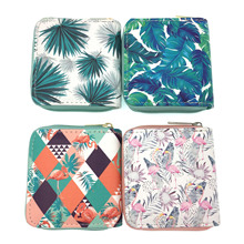 KANDRA 2019 Short Women Wallet Watercolor Leaves Floral Money Coin Purses Card Holder Leather Cute Zipper Travel Gift