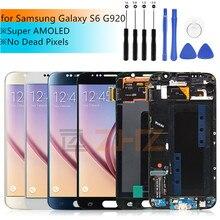 Lcd ekran için samsung galaxy s6 lcd ekran dokunmatik ekran digitizer için çerçeve ile G920 G920f için samsung s6 lcd tamir parçaları
