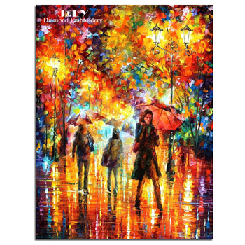 Diamond painting cross stitch colorful leaves diamond embroidery craft people walking in rain picture of rhinestones needlework