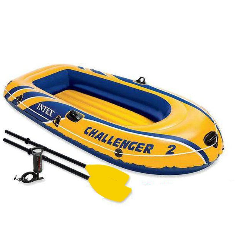 Challenger 2 Inflatable Boat Set with French Oars and High Output Air Pump 2-Person 68367 funny summer inflatable water games inflatable bounce water slide with stairs and blowers