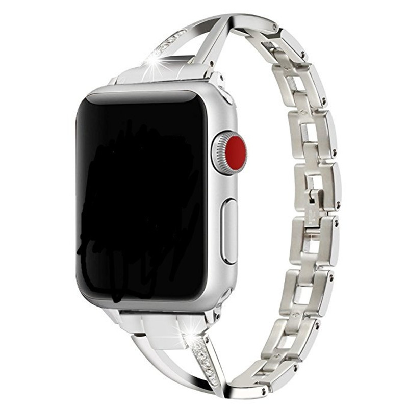 Iwatch1/2/3/4 Strap For Apple Watch Strap X-Shaped Metal Stainless Steel With Rhinestone Strap