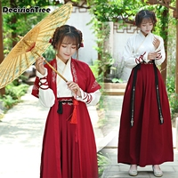 2019 summer national costume sets ancient chinese cosplay costume women red hanfu clothes lady chinese stage traditional dress