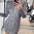2017 New Sexy Long Sleeve O-Neck High Waist Lace Up Suede Dress Women Bodycon Gray Dress Vintage Party Club Short Dress YQ-267