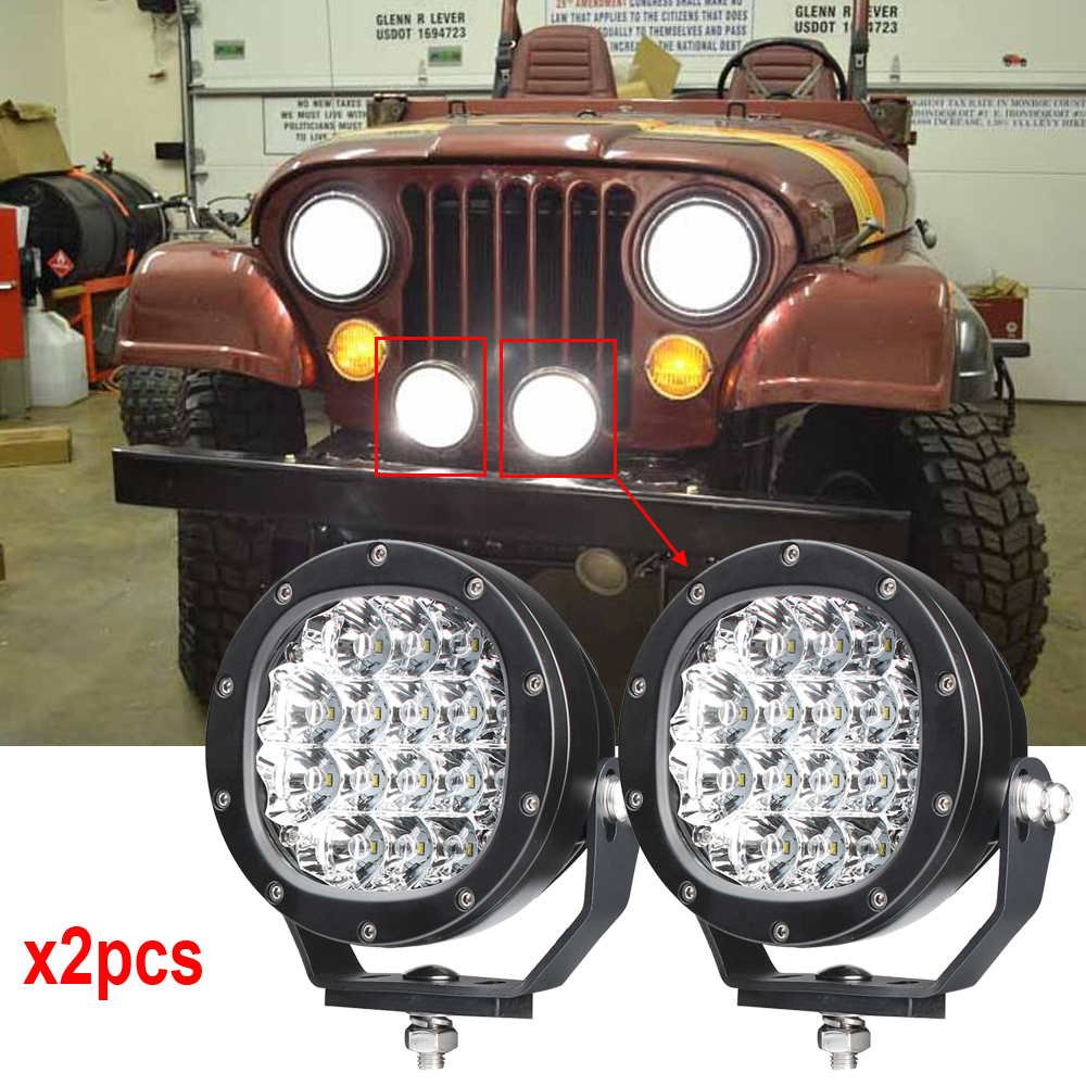 2PCS x 5inch 80W Led Work Light Off Road Truck Bumper Driving Light For Ford F150 Round Led driving lights 80W Free shipping 2pcs 80w 5inch led work light round led driving lamps with spot and flood cover off road fog bulb for offroad tractor 4wd atv