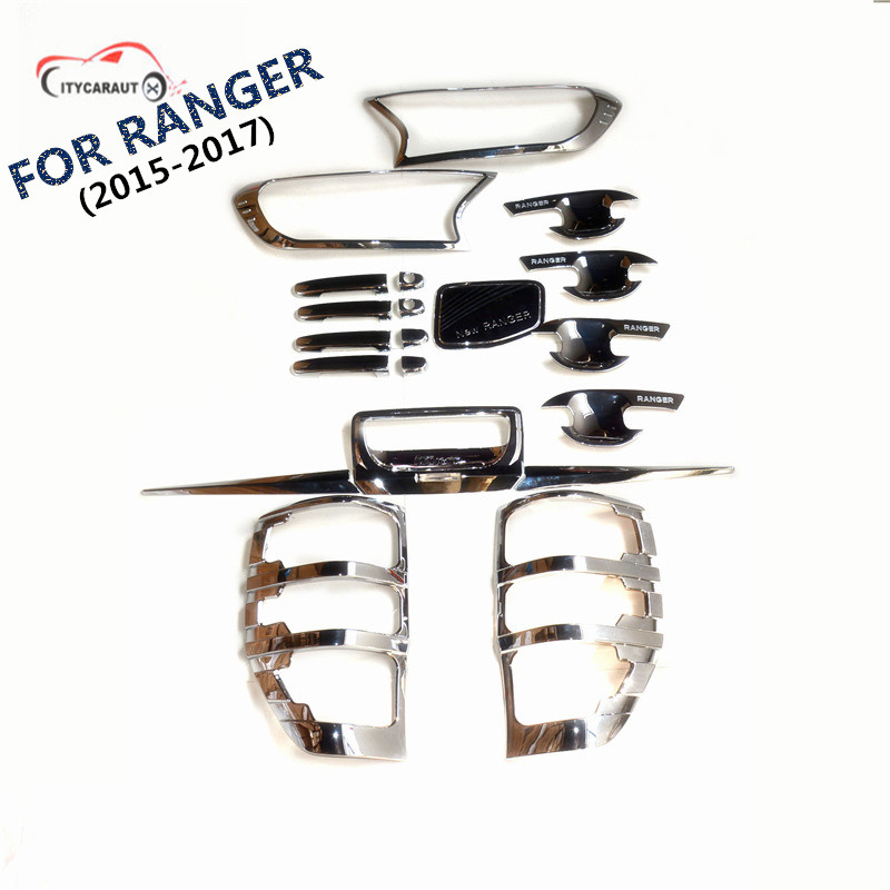 цена на FIT FOR 2015-2017 ford RANGER chrome front tail lamp Handle cover bowl cover rear trunk lid accessory accessories complete set