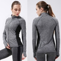 2016 New Arrival Women Running Shirts Long Sleeve Yoga Shirts Zipper Breathable Compression Sportswear Fitness Workout