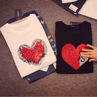 Colorful Variety Sequins Hearts Cotton T Shirts Reversible Sequin magical color changing sequins Tees shirts Discoloration Tops