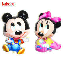 84 x 50CM Big Jumbo Mickey Minnie Foil Balloons, Cartoon Kids Birthday Party Decoration Baby Boy Girl Mickey Inflatable Air Ball(China)
