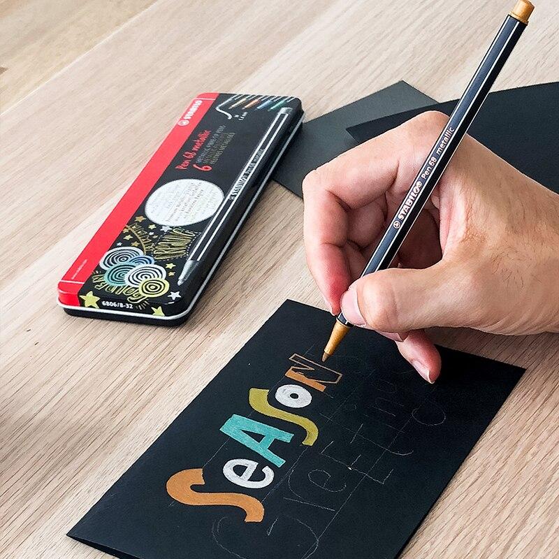 Stabilo Art marqueur avancé métallique couleur marqueurs copiques artiste Marcadores huileux 1.4mm rond dessin marqueurs Art fournitures