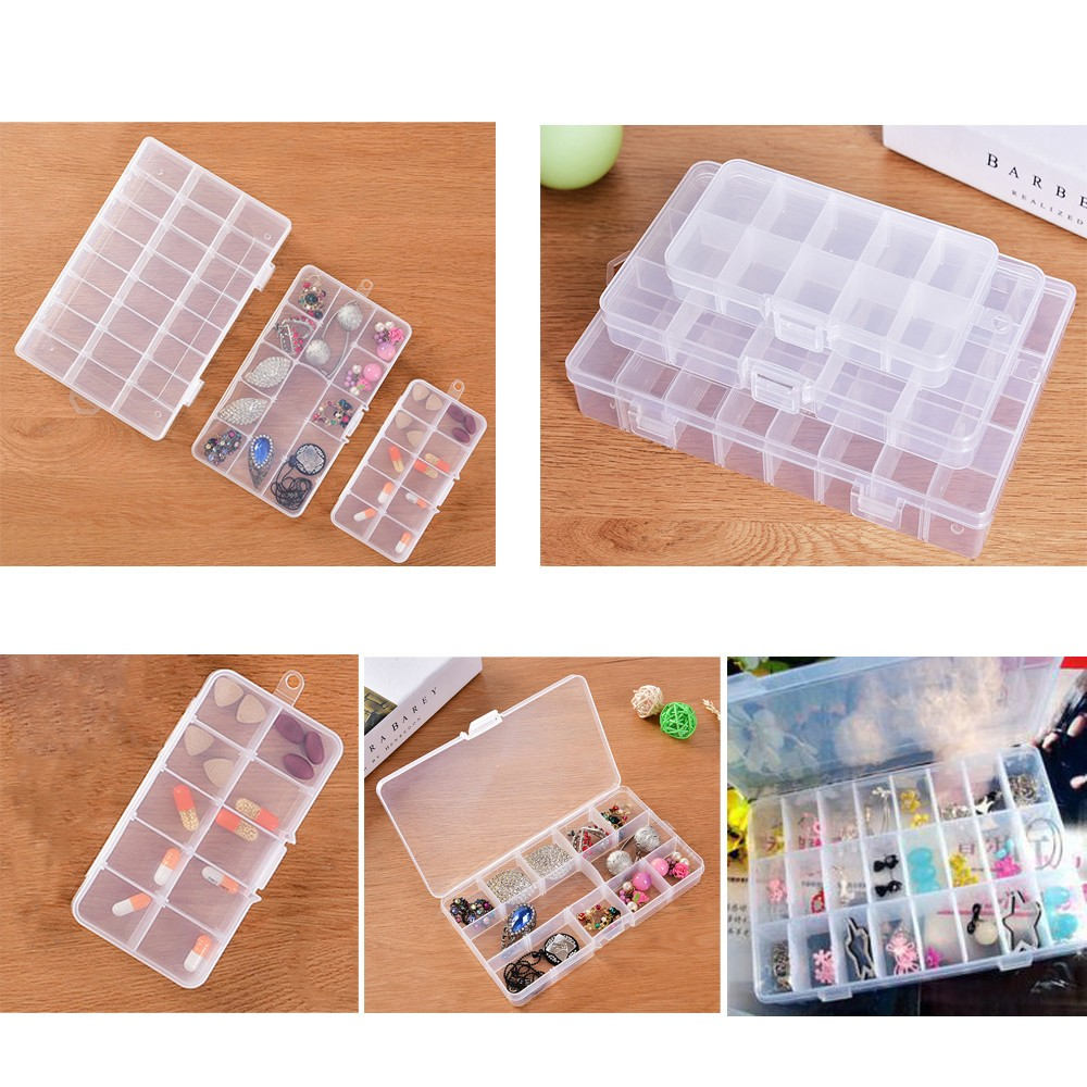 24 Cells Clear New Empty Storage Container Box Case for Nail Art Tips Rhinestone Gems Nail Storage Container Nail Tips Case