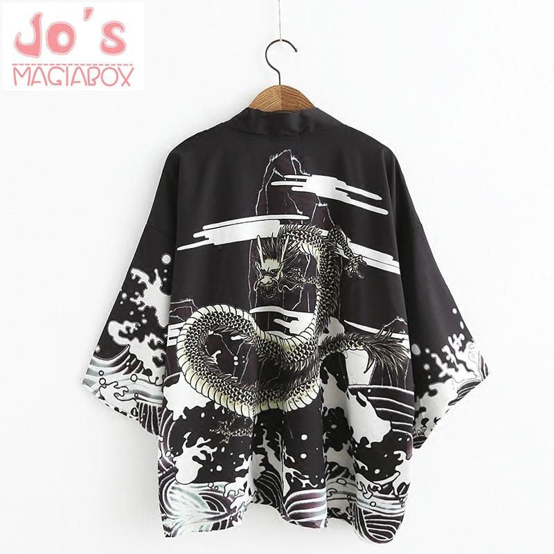 Water Sea Dragon Japanse kimono vest Vrouwelijke blouse Dames shirt Jiu Jitsu Harajuku Kimono Sexy Kawaii lange jas zijde
