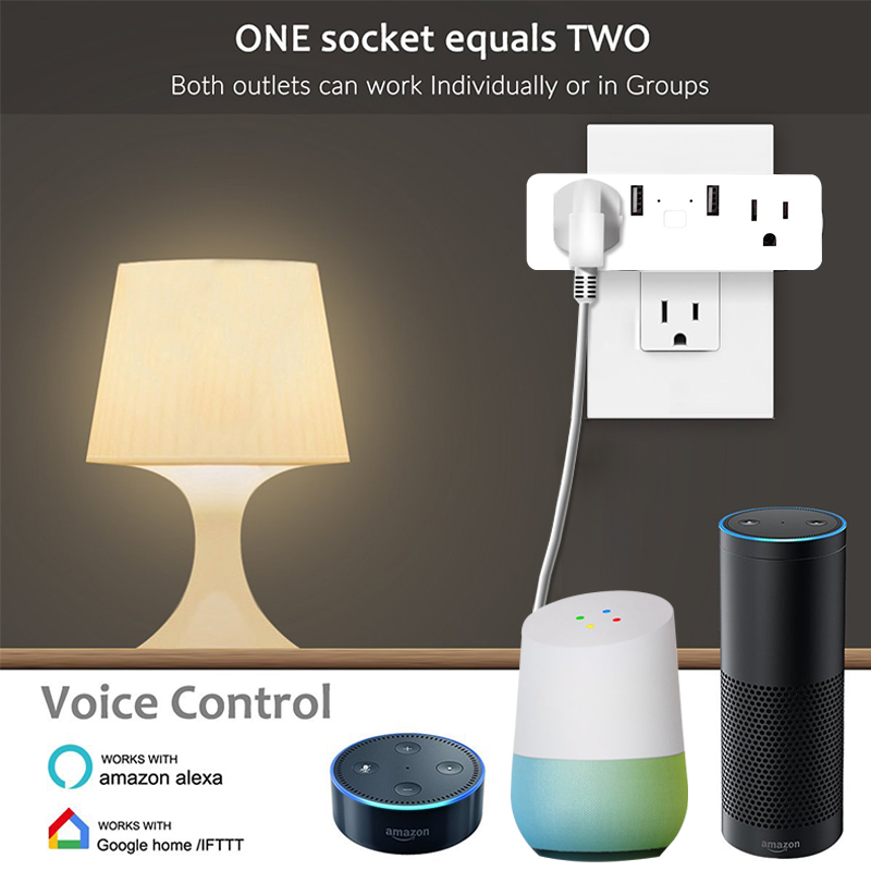 1 pcs USB WiFi Plug APP Remote Control Timing Smart Socket US Pop Wall Socket Works With Alexa & Google Home & IFTTT