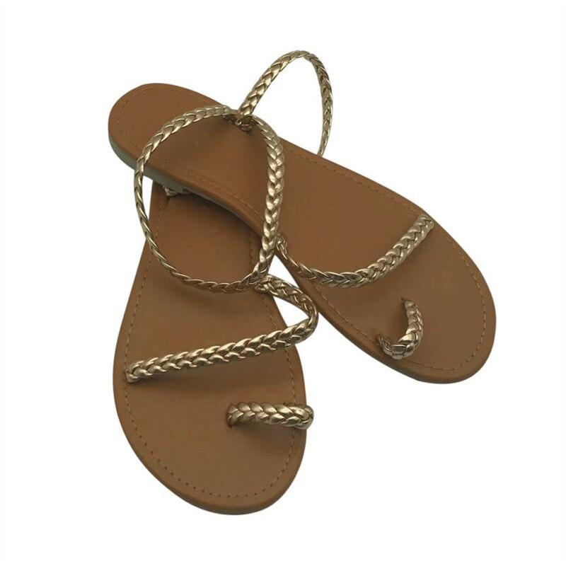 HTB1zo8dkBjTBKNjSZFNq6ysFXXa7 MCCKLE Plus Size Thong Sandals Summer Women Flip Flops Weaving Casual Beach Flat With Shoes Rome Style Female Sandal Low Heels