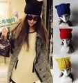 Детская Шапка Осень Зима Теплая 100% Ручной Вязать Шерсти Шапочка Открытый Шляпа женская Кошка Уголок Cap