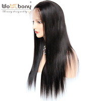 4*4 Silk Top Lace Wig Human Hair Wigs Invisible Free Part Indian Remy Yaki Straight Lace Front Wigs WoWEbony