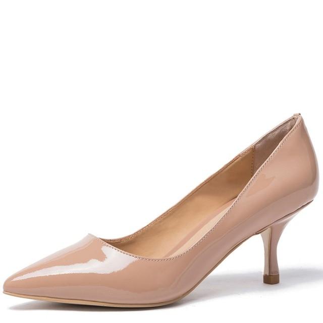 425aadabfdb Hot sale 2017 autumn new Women Kitten Mid Heel Pump Ladies Pointed Toe  Basic Office Work Shoe nude Leather Slip On Low Heel Shoe