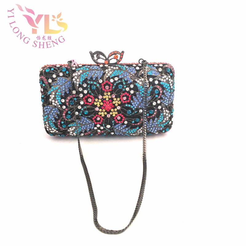 Women Vintage Floral Evening Clutch Bags Handmade with Glass Stone in Multi Wedding/Special Occasion Clutches/Evening YLS-F93 women designer clear glass clutches evening fashion handbag crystal metal clutch bag with stone crossbody evening bags yls g83