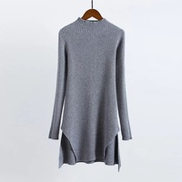 Wholesale Europe Autumn Thickening Warm Sweater Half High Collar Long Sleeves Both Sides Split Knitting Sweater
