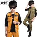 A15 Kids Clothing Sets Spring 2017 Children Clothes Toddler Boy 3 Pieces Set Teenage Boys Cargo Pants Military Age 10 12 14 Year