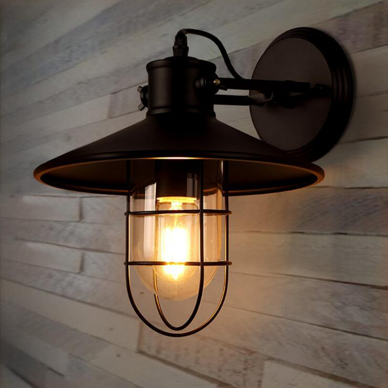 Loft Industry Retro Restaurant Bar Iron Glass Wall Lamp American Bedroom Bedside Aisle Balcony Wall Light Free Shipping nordic american country loft minimalist restaurant bar balcony aisle trumpet glass bell crystal chandelier lamp light lighting