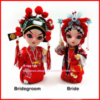 Red Bride and Bridegroom doll Ancient Chinese dolls Authentic simulation dolls Chinese wedding collection for wedding Gifts