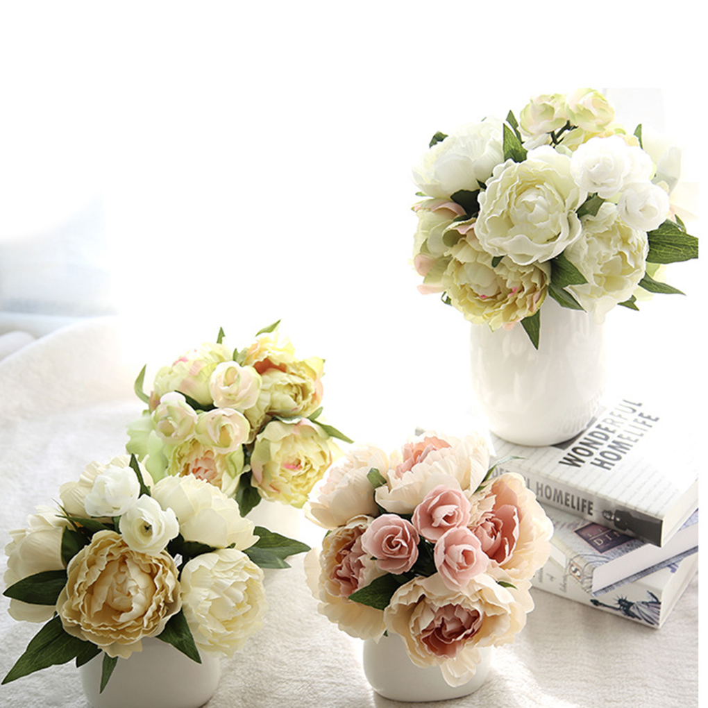 Artificial Peony Silk Flowers 8 Headsbouquet Home Wedding Party
