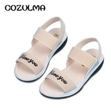 Cozulma الصيف نمط الفتيات الصنادل الأطفال شاطئ النعال أطفال أحذية جلدية مقاومة للانزلاق الفتيات الأميرة الأزياء والأحذية
