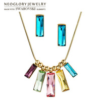 Neoglory MADE WITH SWAROVSKI ELEMENTS Crystal Jewelry Set Multicolor Design Light Yellow Gold Color Necklace & Earrings Lady