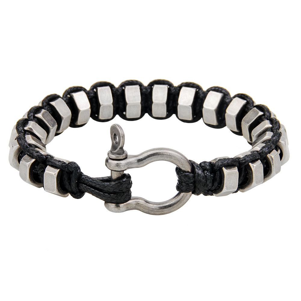 Men Bracelet Rope Metal Woven Bracelets Men Vintage Male Braided Jewelry Charm Wide Chai ...