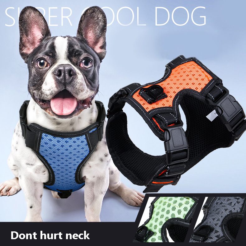 Reflective Nylon Large Big Dog Vest Harness Breathable Pitbull Golden Retriever Harness Leash Lead Dog Collar Chest Straps Belt