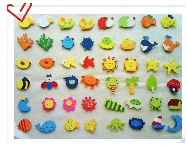 Free Shipping  Wholesale Lower Price Wooden+Magnet Home Decor Fridge Magnets,12pcs/pack,30pack/lot
