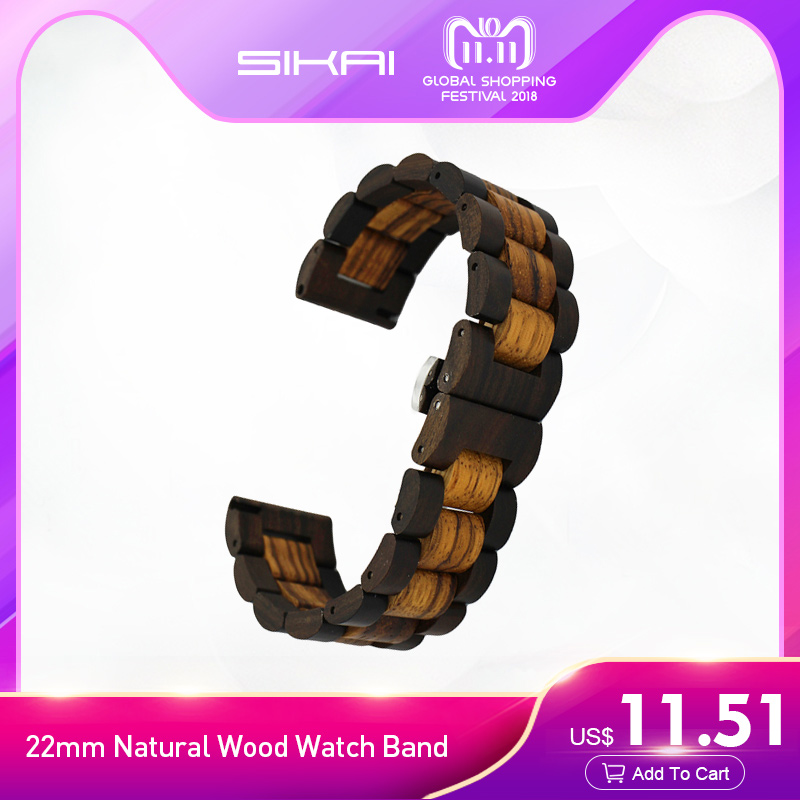 SIKAI 22mm Natural Wood Watch Band for Samsung S3 Bracelet For SAMSUNG GEAR S3 Smartwatch Band Wooden Strap 22mm Watch Wristband 22mm replacement strap for samsung gear s3 classic watch band sport silicone bracelet strap for samsung gear s3 frontier band