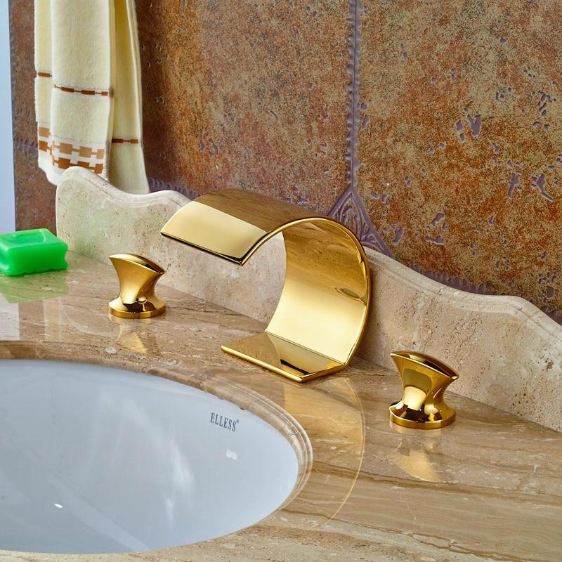 3pcs Bathroom Vanity Sink Tap Golden Polish Swivel Spout Faucet Hot&Cold Faucet