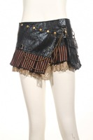 RQ Series Steampunk Gothic Black Coffee Short Women Sexy Mini Skirt Pu Leather Vintage Skirts Asymmetrical