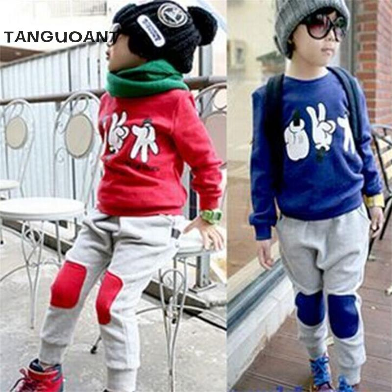 2016 Spring And Autumn Babys Kids Boys Finger Games Sport Tracksuits 2pcs Outfit Sets sports suit for boy clothes clothing sets
