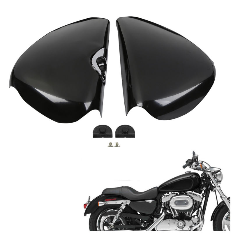 Pair Battery Covers For Harley Sportster XL 1200 883 Iron 883 Forty Eight Seventy Two 04-13 skull motocycle cnc derby timing timer cover engine for harley xl xr sportster 883 1200 xl xl883 xl1200 forty eight seventy two