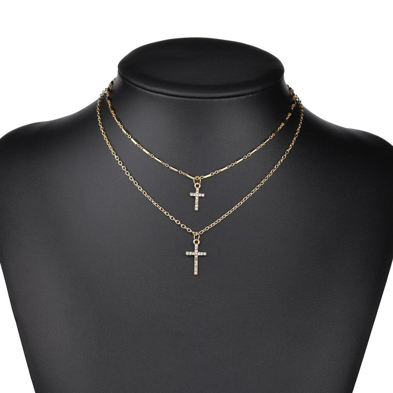 NIUYITID Religion Double Layer Chain With Cross Crystal Pendant Necklace Jesus Men Women Jewelry collier femme 2019 (2)